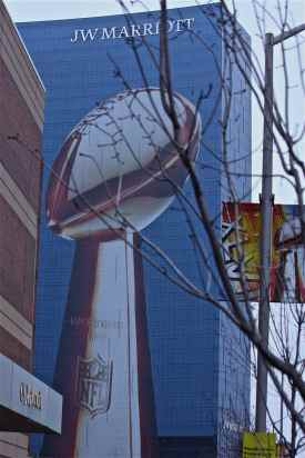 Lombardi Trophy Image on 33 story JW Marriott Hotel; Taken from 2 blocks away